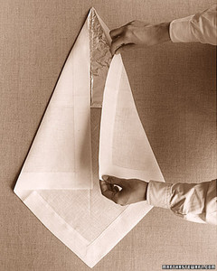 Turkey napkin fold martha stewart for How to fold napkins into turkeys