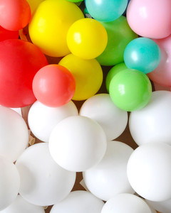 colorful balloons cardboard arch