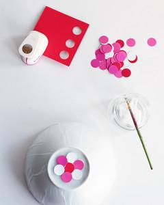 papier-mache punched circles bowl