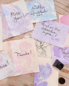 marbleized calligraphy ink paper stationery