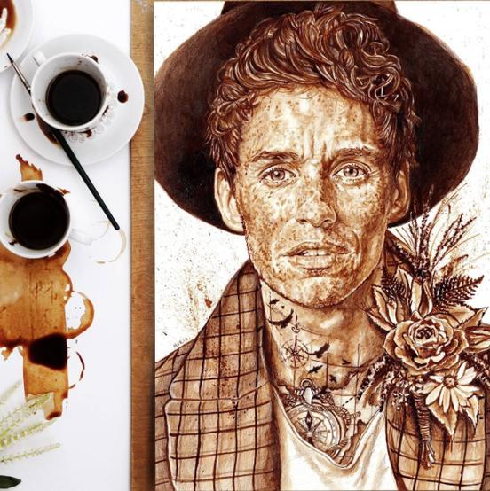 Eddie Redmayne coffee-painted portrait