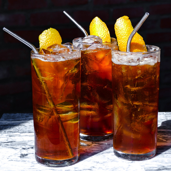 Matchless coffee three glasses of west elm soda