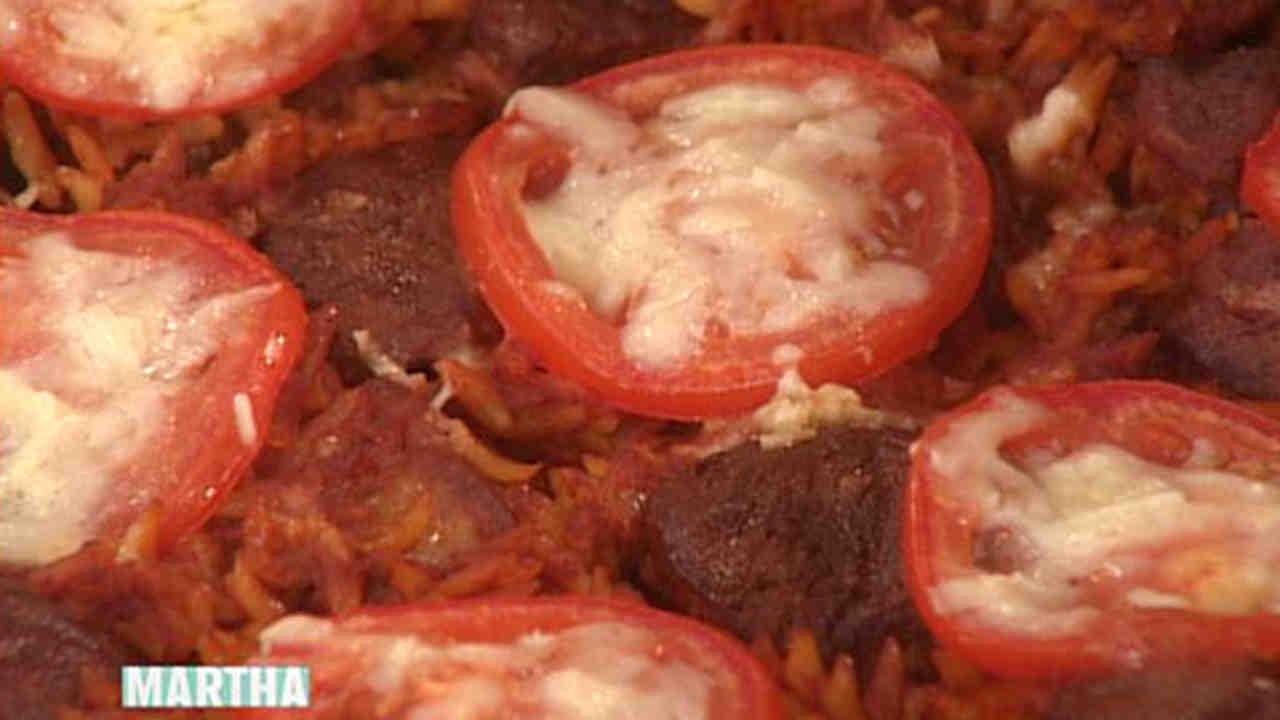 lamb baked with orzo recipe & video | martha stewart