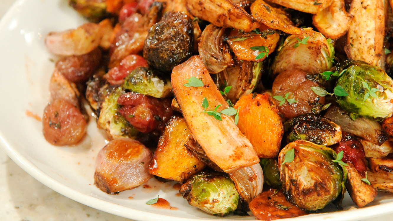 Roasted Fall Salad with Parsnips, Brussels Sprouts, and Grapes Recipe ...