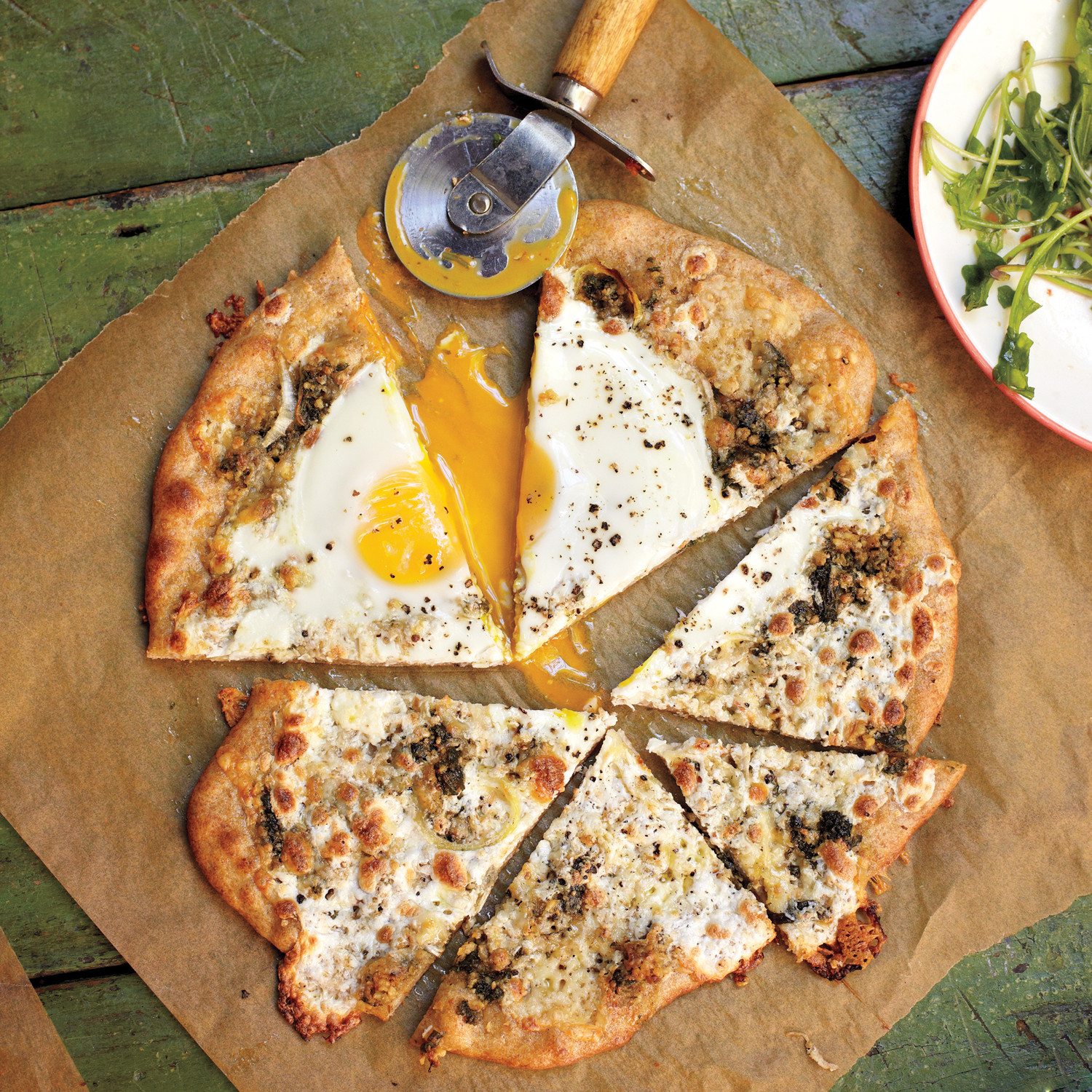 Pizza with a Sunny Side Up Egg and Herb Garden Pesto