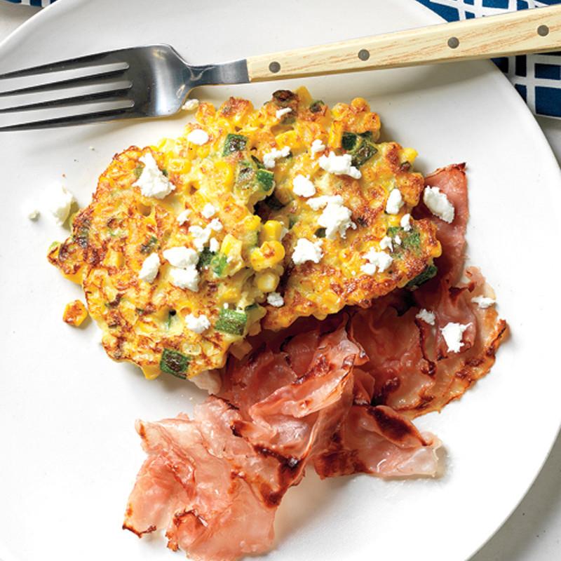 Corn Cakes with Goat Cheese Recipe | Martha Stewart