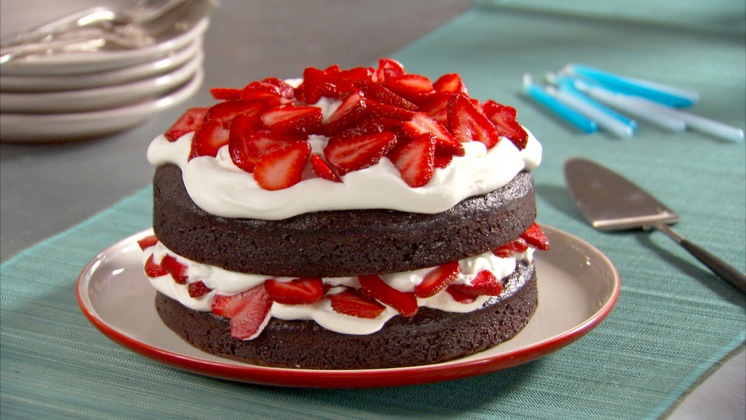 ... Strawberry Cream Cake chocolate cake with whipped cream and