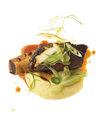 Lacquered Short Ribs With Celery Root Puree And Celery