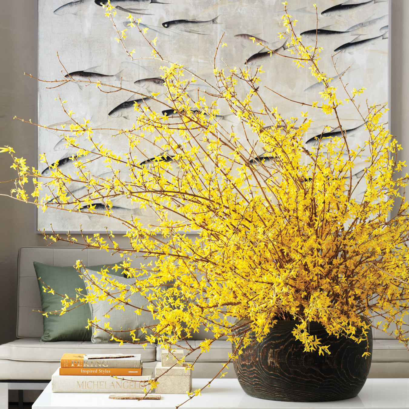 25 Modern Decor Ideas With Floral Fabric Prints And Textiles: Home Design: Forsythia