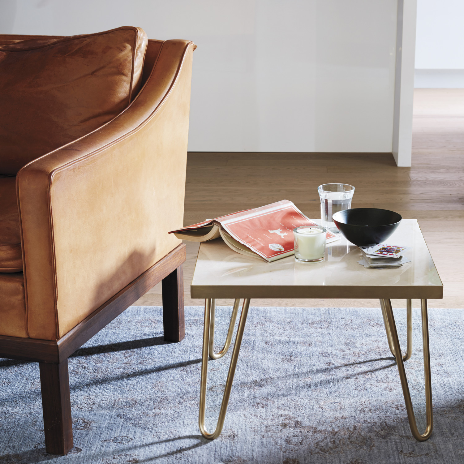 Diy Marble Coffee Table Top: Brass-Leg Side Table