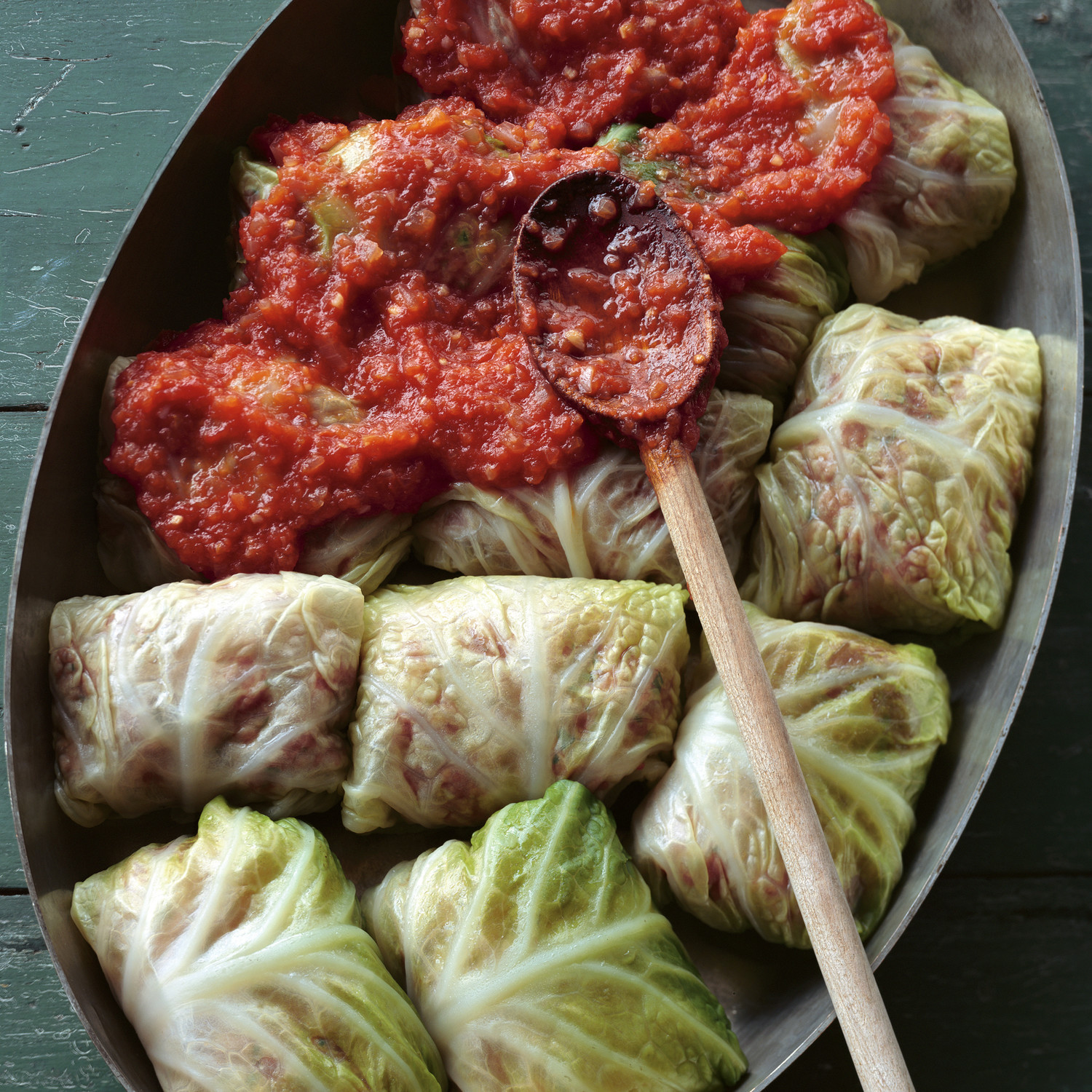 Stuffed Savoy Cabbage With Beef Pork And Rice In A Spicy