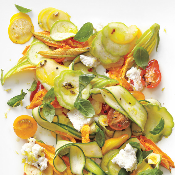 ... Squash Salad with Tomatoes, Zucchini Blossoms, Ricotta, and Thyme Oil