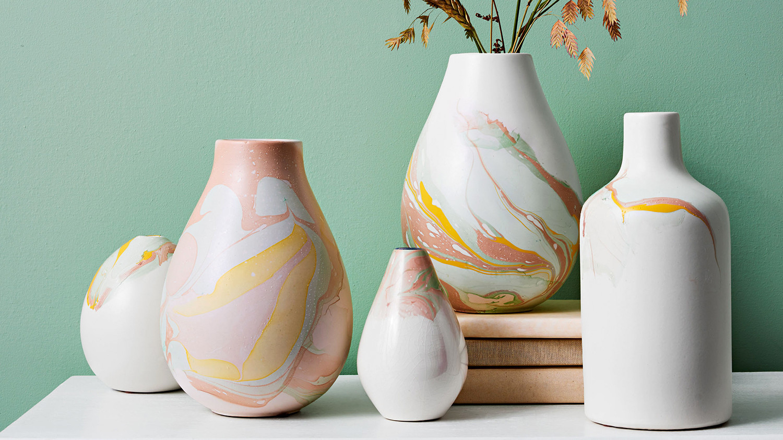Marbleized Ceramic Vases Martha Stewart