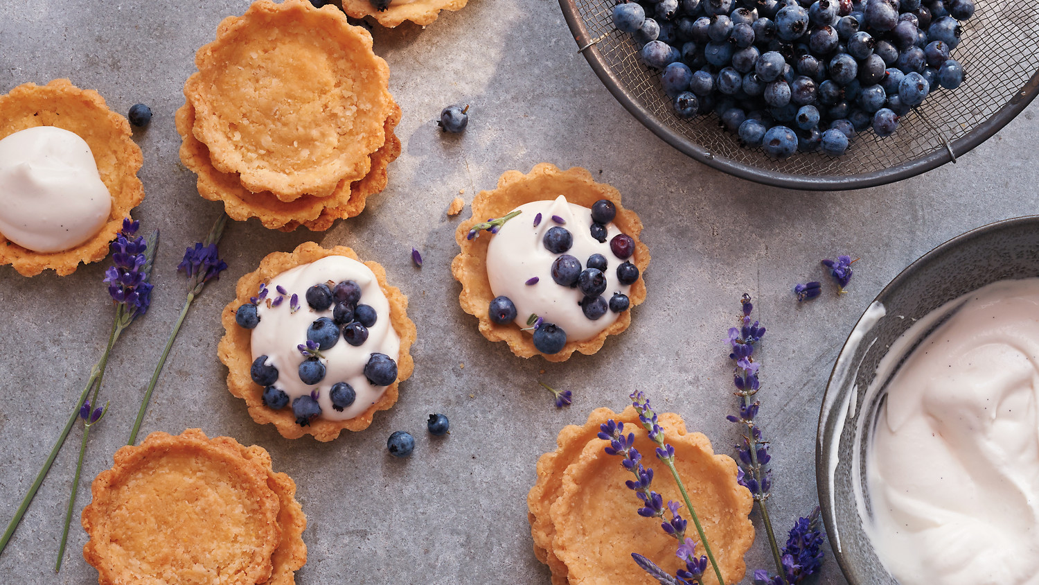 Mini Blueberry Lavender Cornmeal Cream Tarts Recipe