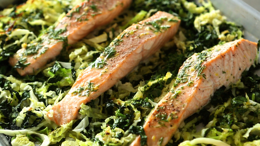 Video Baked Salmon With Kale And Cabbage Martha Stewart