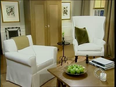 video designing a comfortable living room martha stewart. Black Bedroom Furniture Sets. Home Design Ideas