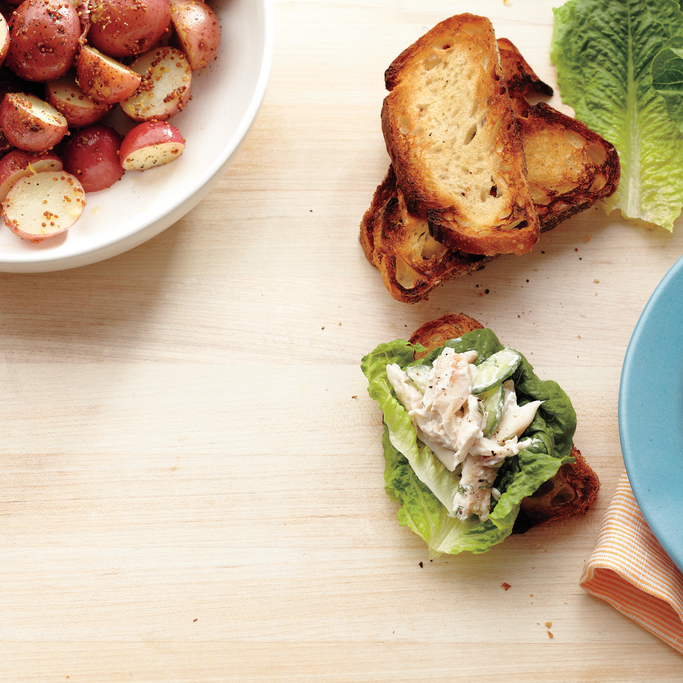 Open-Faced Trout Sandwiches with Mustard Potatoes