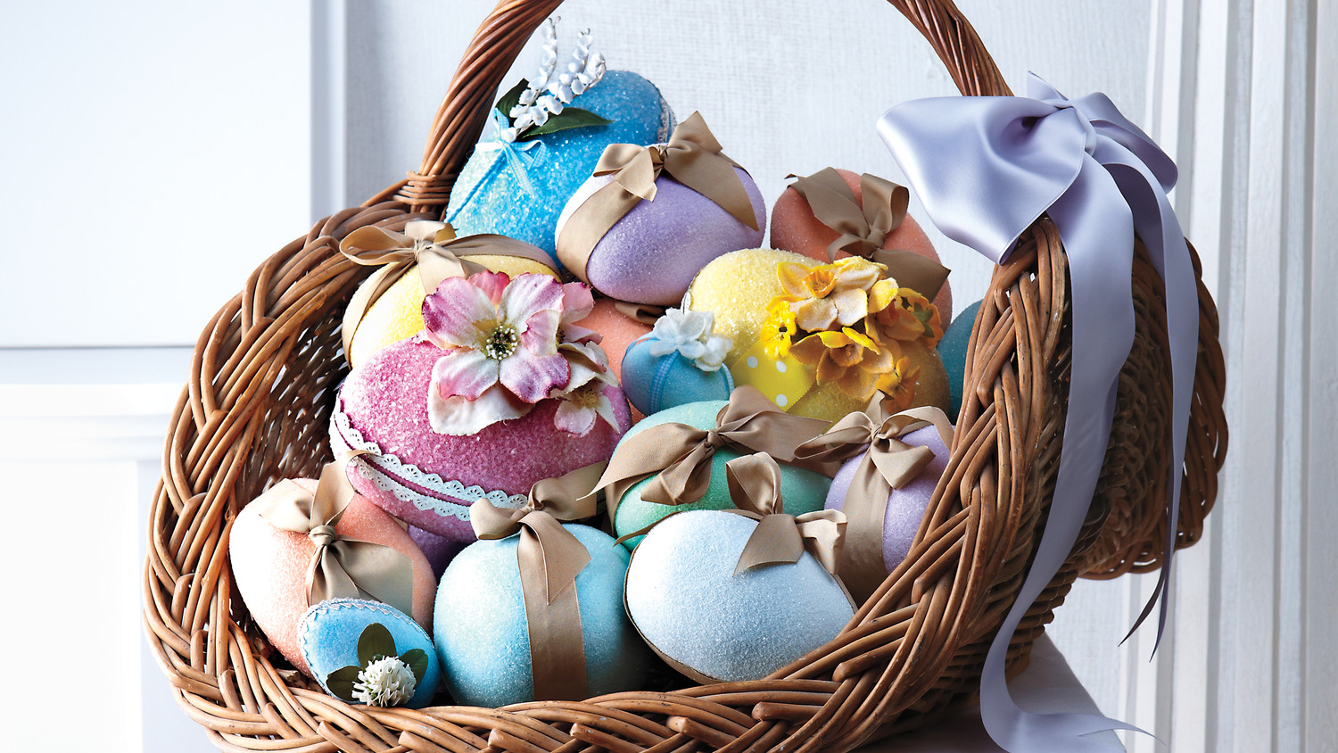 Glittered Floral Egg Basket Martha Stewart