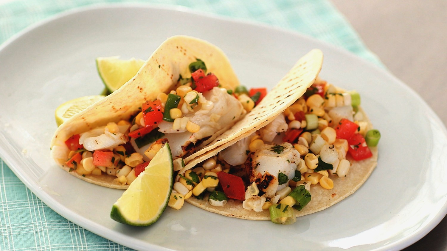 Video: Grilled Lime Fish Tacos with Corn Salsa | Martha ...