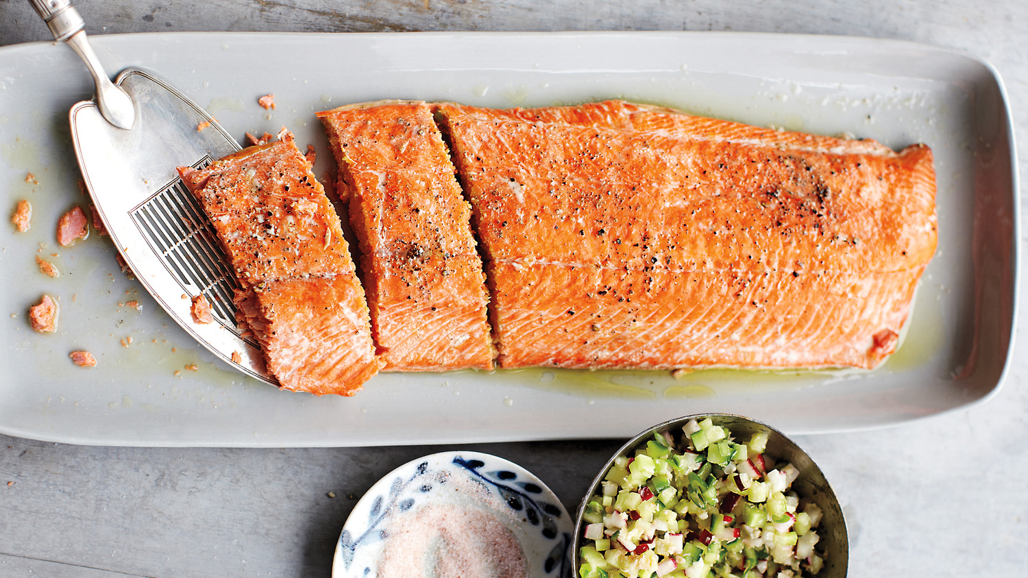Salmon With Cucumber-Radish Relish Recipe — Dishmaps