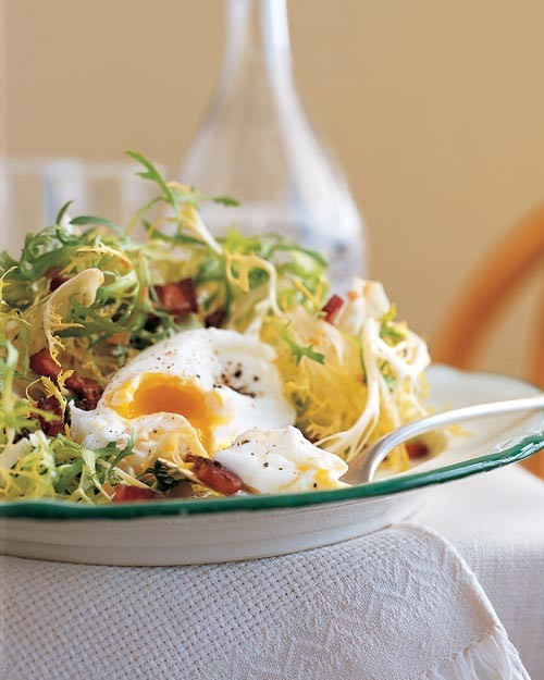 Frisee with Lardons and Poached Eggs Recipe | Martha Stewart