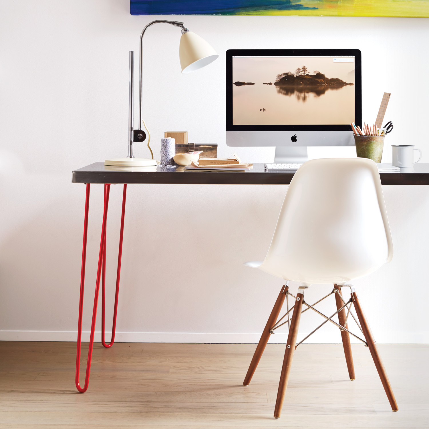 Hairpin Leg And Stainless Top Desk Martha Stewart