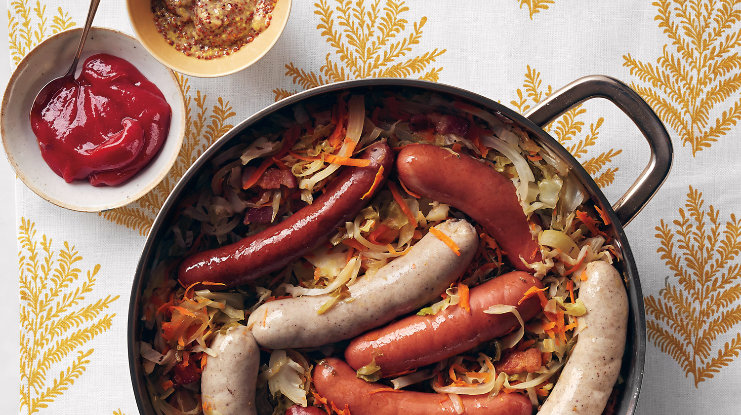 German Sausages With Quick Kraut and Curry Ketchup Recipe Martha