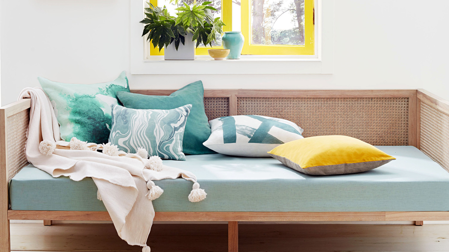 Bright yellow and celadon are having a home decor moment for Martha stewart home decor