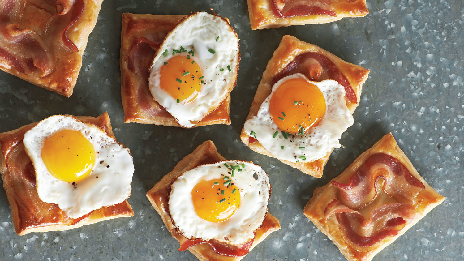 Fried-Egg-and-Bacon Puff Pastry Squares Recipe & Video | Martha ...