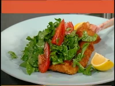 Video: Breaded Veal with Chopped Arugula and Tomato Salad | Martha ...