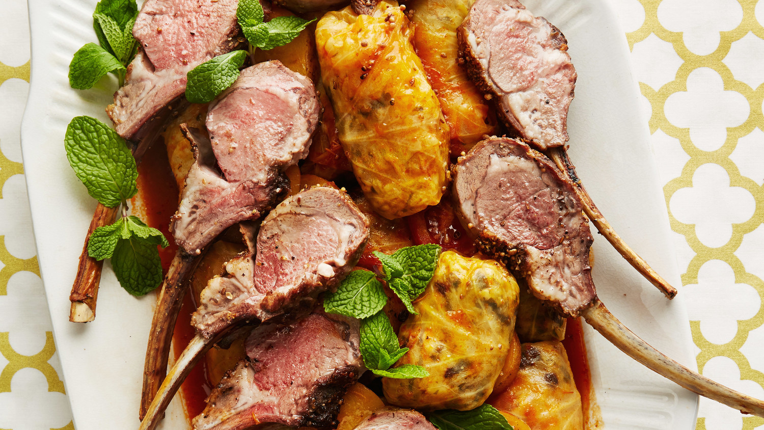Stuffed Cabbage and Spiced Lamb Chops