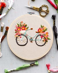 Try This Embroidery Project: Bicycle with Basket of Flowers