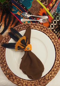 DIY Feather Napkin Rings for a Fall Tablescape