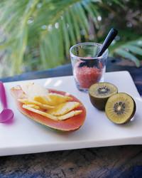 Pineapple-Filled Papayas with Kiwi and Hawaiian Pink Sea Salt