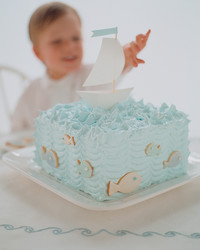fish cookies sailboat cake boy