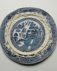 This Blue Willow Plate is Embroidered With Impressive Detail