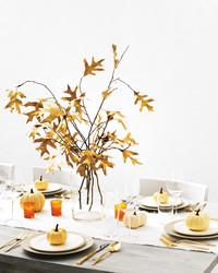 A Golden Centerpiece Made From Fallen Leaves