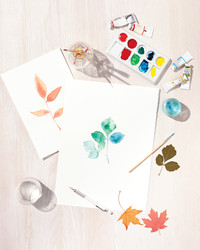 The Trick to This Beautiful Watercolor Painting? Leaves!