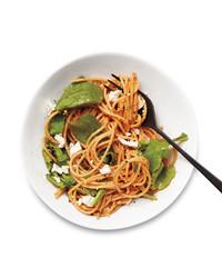 Peppadew Pesto Spaghetti with Feta and Arugula