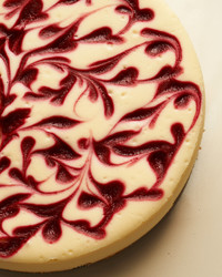 raspberry-swirl cheesecake