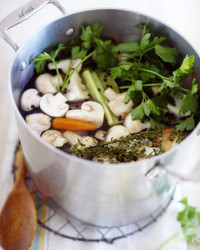 turkey stock mushrooms carrots parsley