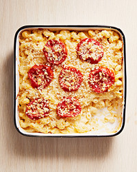 baked macaroni cheese broiled tomatoes