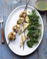 cilantro lime shrimp kebabs with jicama