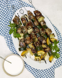 lamb and cucumber kebabs with feta sauce