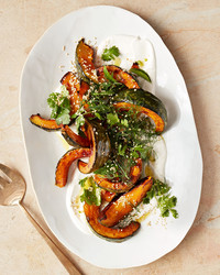 roasted kabocha with tahini and herb salad