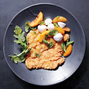 Pickled-Peach and Mozzarella Salad with Fried Chicken Cutlets