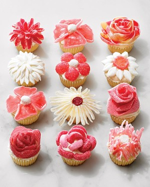 Candy Flower Cupcakes -- No Piping Required