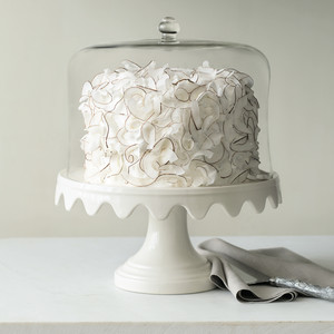 Martha Stewart Collection Scalloped Cake Stand and Dome