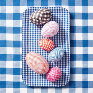 Gingham-Decoupaged Easter Eggs