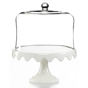 Scalloped Cake Stand and Dome